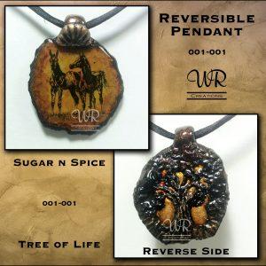 Arabian Foals And Tree of Life Reversible Pendant