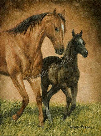 Race Ya Mom - Oil on canvas - thoroughbred mare and foal